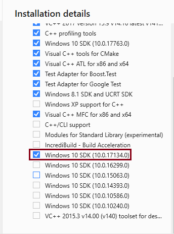 Windows 10 SDK installed and available version